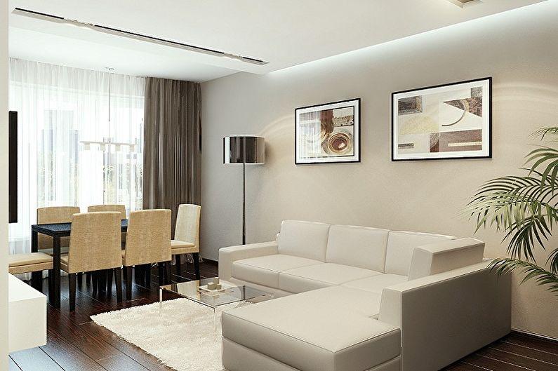 Обои для зала (60 фото) - красивые идеи, комбинирование обоев в гостиной