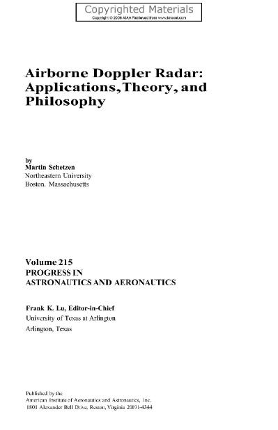 Airborne Doppler Radar Applications, Theory, and Philosophy