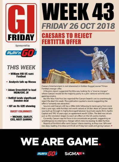 The Gambling Insider Friday  25 October (2018)